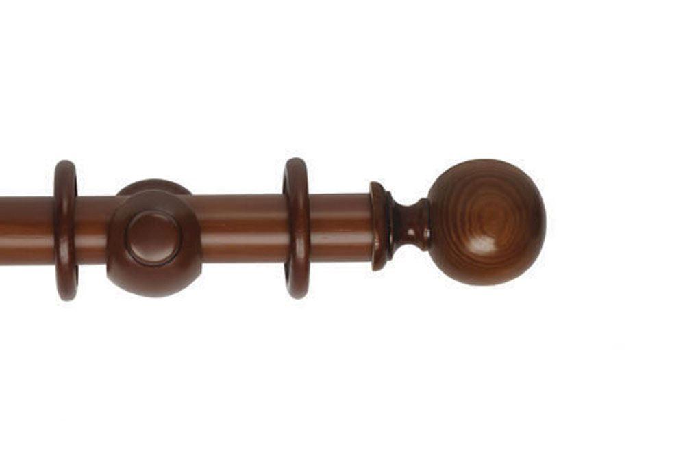 Hallis 35mm Museum Plain Ball Wooden Curtain Pole Antique Pine