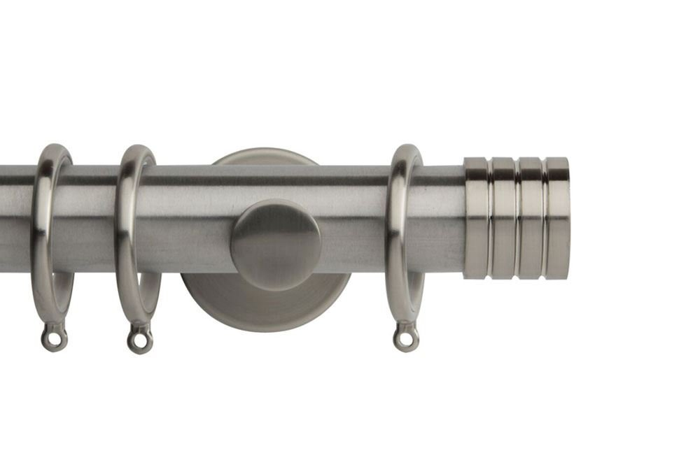 Rolls 35mm Neo Stud Metal Curtain Pole Stainless Steel