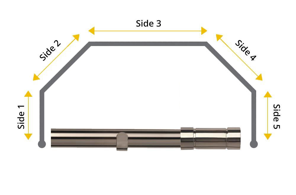Speedy 28mm Aspect 5 Sided Bay Window Curtain Pole Polished Graphite