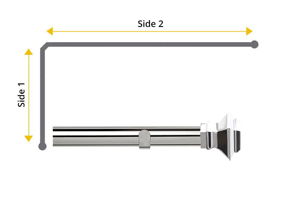 Speedy 28mm Aztec L-Shaped Bay Window Curtain Pole Chrome