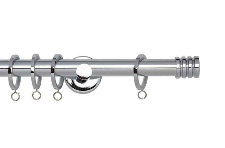 Rolls 19mm Neo Stud Metal Curtain Pole Chrome