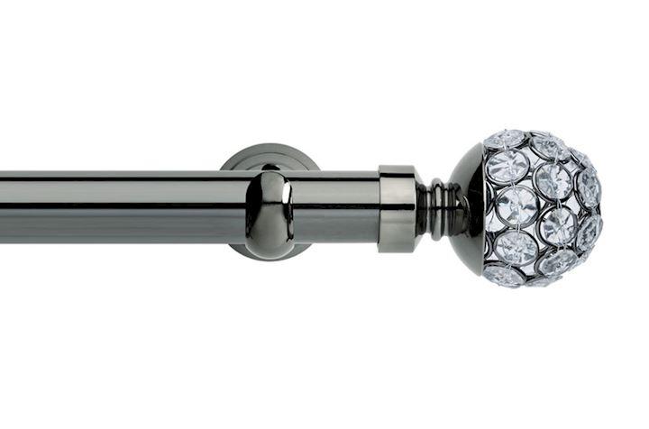 Rolls 28mm Neo Jewelled Ball Metal Eyelet Pole Black Nickel