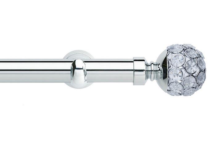 Rolls 28mm Neo Jewelled Ball Metal Eyelet Pole Chrome