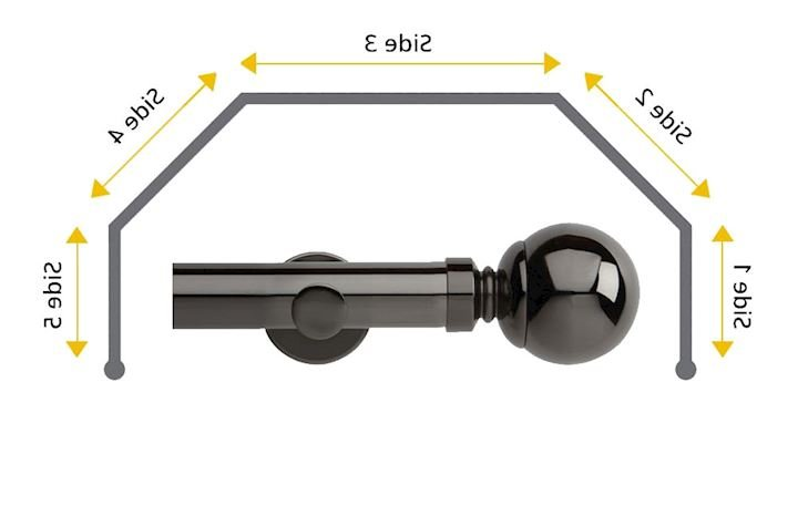 Rolls 28mm Neo Ball 5 Sided Bay Window Curtain Pole Black Nickel