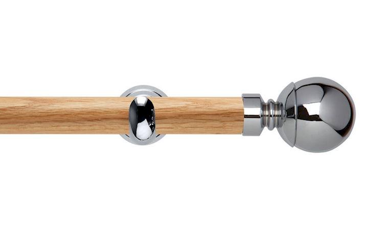 Rolls 28mm Neo Oak Ball Chrome Wooden Eyelet Pole