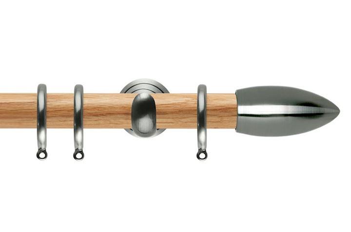 Rolls 28mm Neo Oak Bullet Stainless Steel Wooden Curtain Pole
