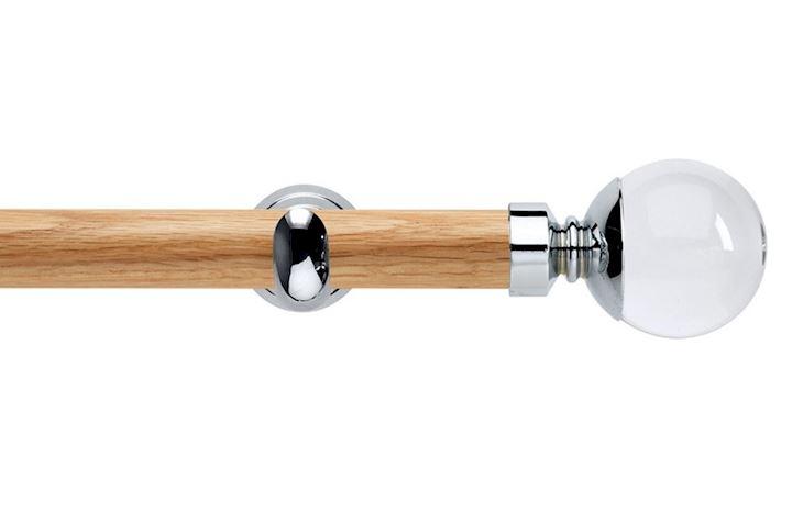 Rolls 28mm Neo Oak Clear Ball Chrome Wooden Eyelet Pole