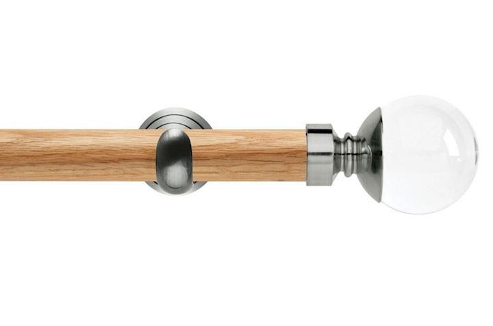 Rolls 28mm Neo Oak Clear Ball Stainless Steel Wooden Eyelet Pole