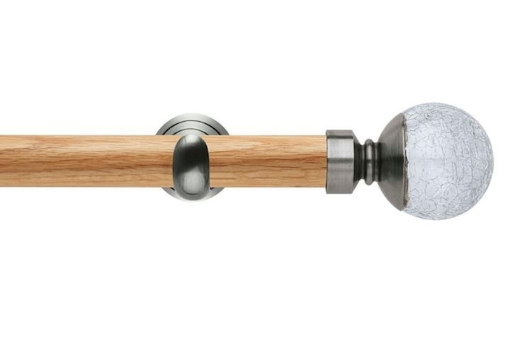 Rolls 28mm Neo Oak Crackled Glass Stainless Steel Wooden Eyelet Pole