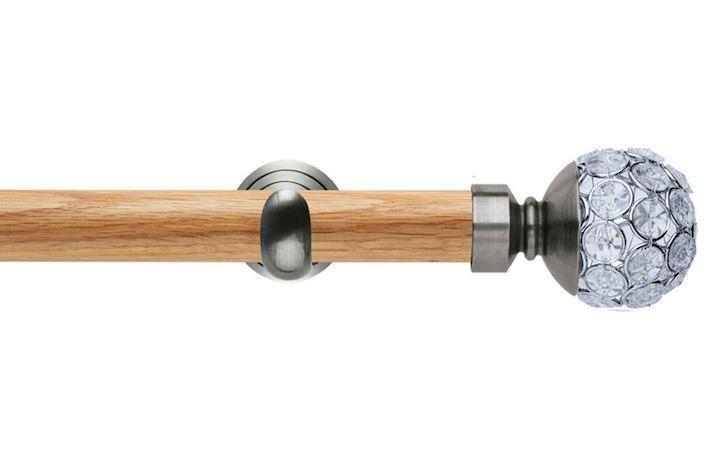 Rolls 28mm Neo Oak Jewelled Spun Stainless Steel Wooden Eyelet Pole
