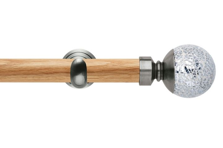 Rolls 28mm Neo Oak Mosaic Ball Stainless Steel Wooden Eyelet Pole