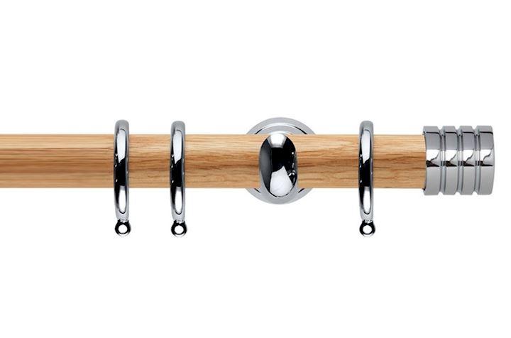 Rolls 28mm Neo Oak Stud Chrome Wooden Curtain Pole