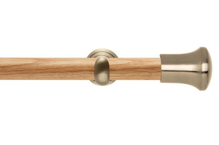 Rolls 28mm Neo Oak Trumpet Spun Brass Wooden Eyelet Pole