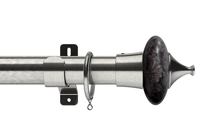 Swish 28mm Design Studio Cupola Satin Steel Metal Curtain Pole