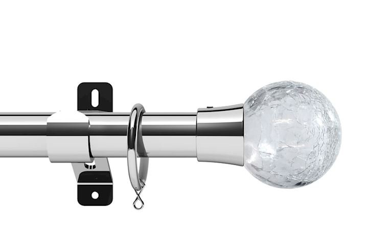 Swish 28mm Design Studio Gossamer Chrome Metal Curtain Pole