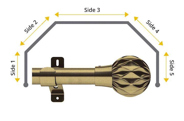 Swish 28mm Cruzar 5 Sided Bay Window Curtain Pole Antique Brass