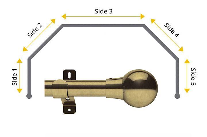 Swish 28mm Mondiale 5 Sided Bay Window Curtain Pole Antique Brass
