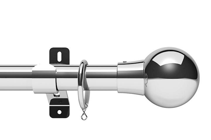 Swish 28mm Design Studio Mondiale Chrome Metal Curtain Pole