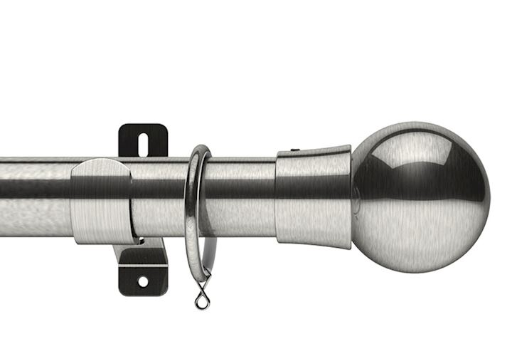 Swish 28mm Design Studio Mondiale Satin Steel Metal Curtain Pole