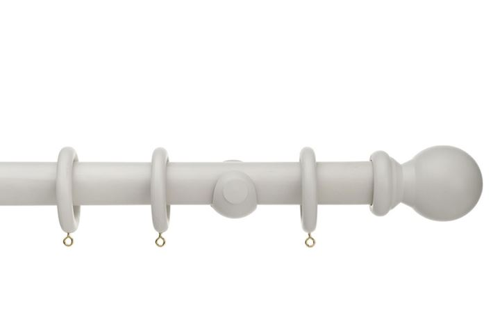 Universal 28mm Ball Wooden Curtain Pole Grey