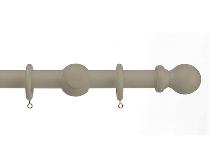 Universal 28mm Ball Wooden Curtain Pole Taupe