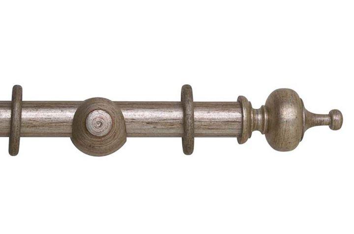 Hallis 35mm Museum Boudoir Wooden Curtain Pole Antique Silver