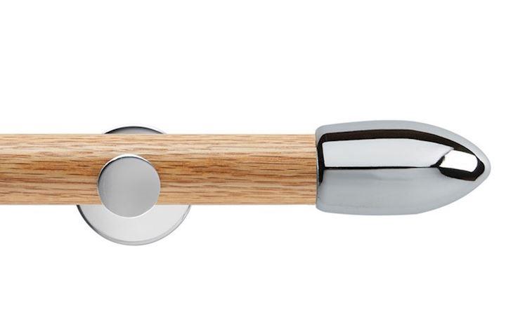 Rolls 35mm Neo Oak Bullet Chrome Wooden Eyelet Pole