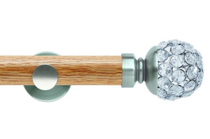 Rolls 35mm Neo Oak Jewelled Ball Stainless Steel Wooden Eyelet Pole