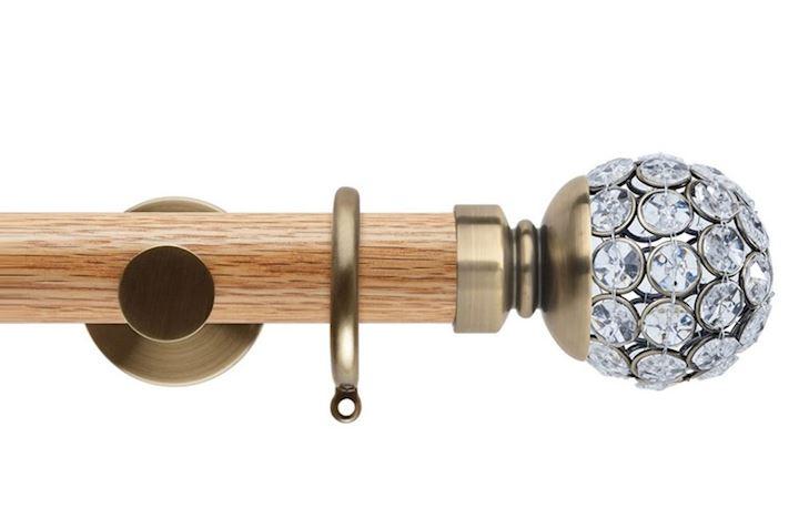 Rolls 35mm Neo Oak Jewelled Ball Spun Brass Wooden Curtain Pole