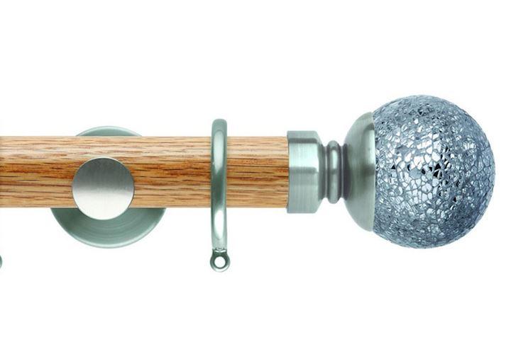 Rolls 35mm Neo Oak Mosaic Ball Stainless Steel Wooden Curtain Pole