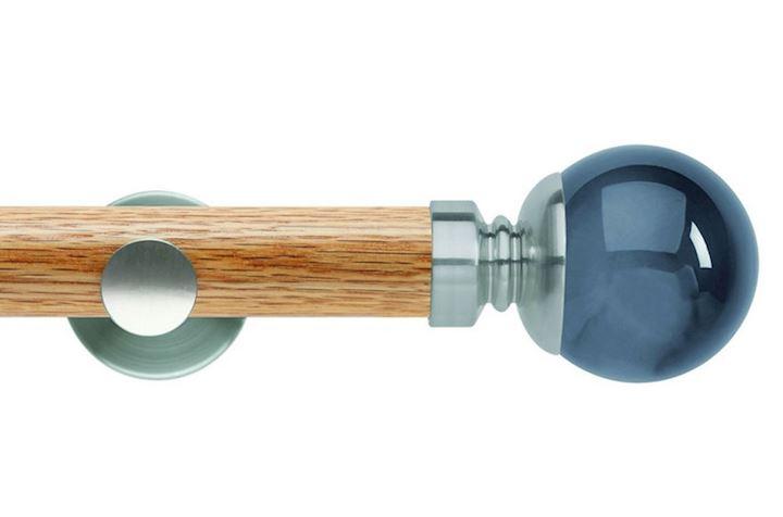 Rolls 35mm Neo Oak Smoke Grey Ball Stainless Steel Wooden Eyelet Pole