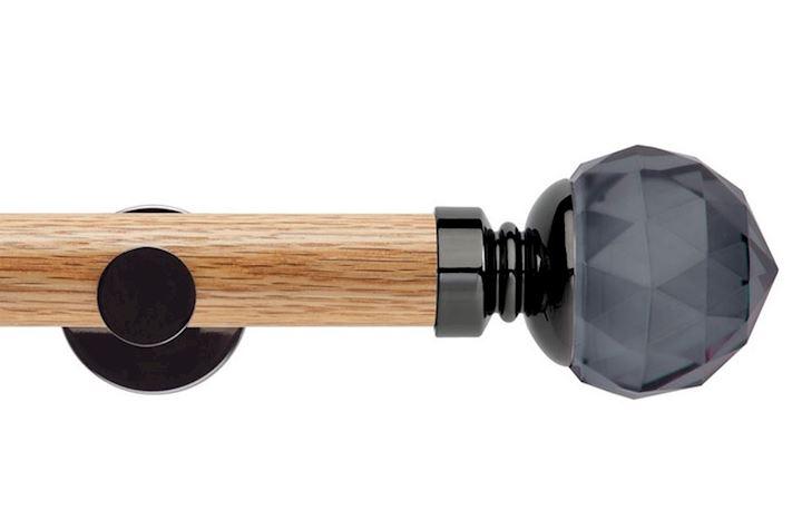 Rolls 35mm Neo Oak Smoke Grey Faceted Ball Black Nickel Wooden Eyelet Pole
