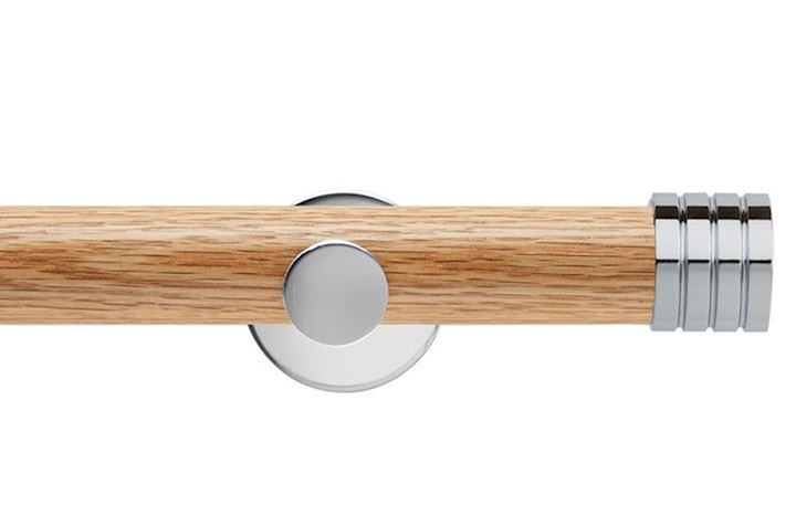 Rolls 35mm Neo Oak Stud Chrome Wooden Eyelet Pole