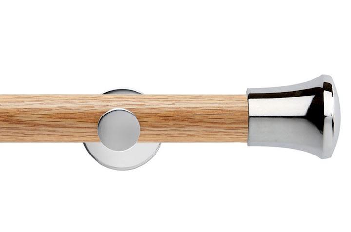 Rolls 35mm Neo Oak Trumpet Chrome Wooden Eyelet Pole