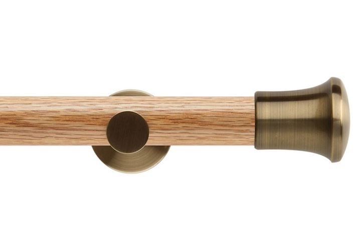 Rolls 35mm Neo Oak Trumpet Spun Brass Wooden Eyelet Pole