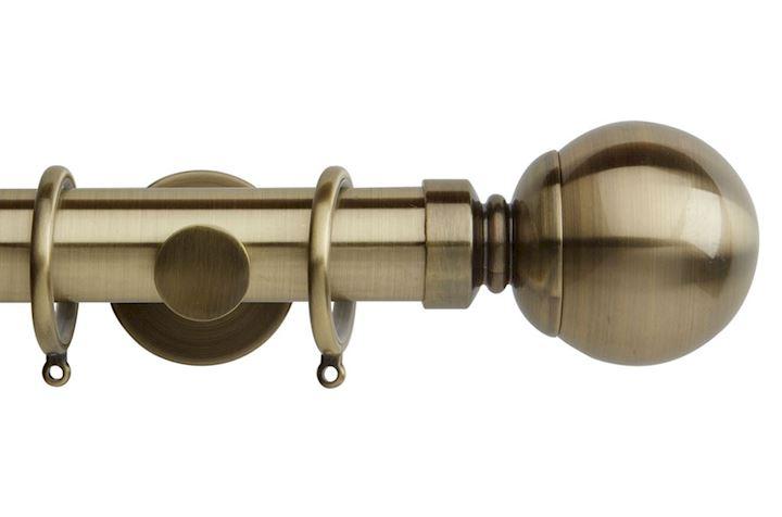 Rolls 35mm Neo Ball Metal Curtain Pole Spun Brass