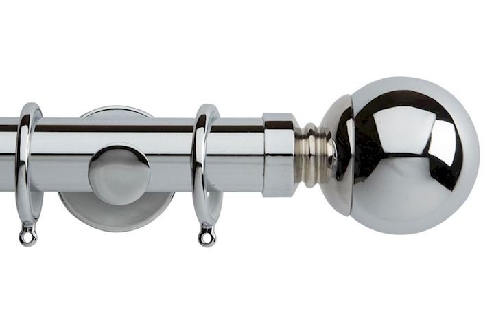 Rolls 35mm Neo Ball Metal Curtain Pole Chrome