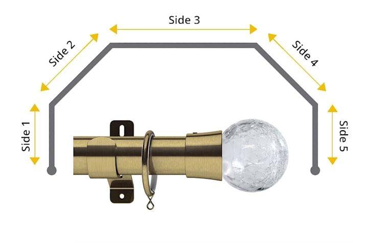 Swish 35mm Gossamer 5 Sided Bay Window Curtain Pole Graphite