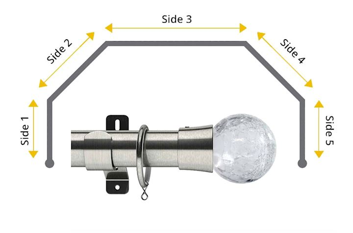 Swish 35mm Gossamer 5 Sided Bay Window Curtain Pole Satin Steel