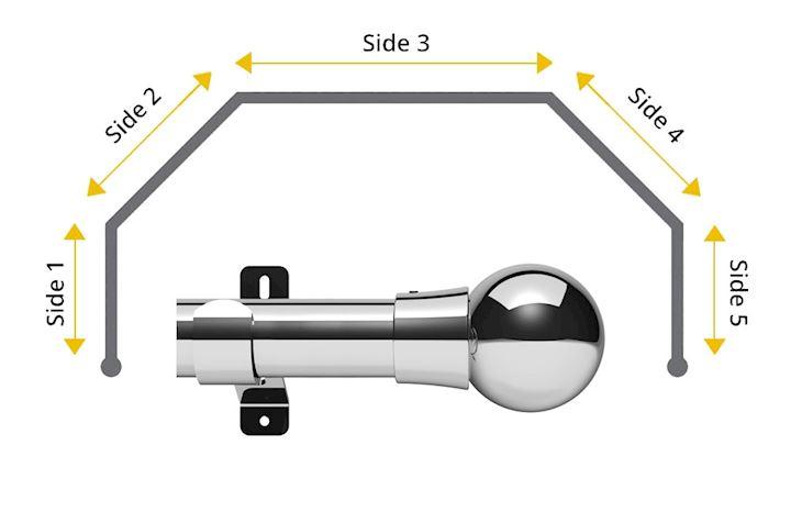 Swish 35mm Mondiale 5 Sided Bay Window Curtain Pole Chrome