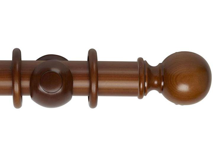 Hallis 55mm Museum Plain Ball Wooden Curtain Pole Antique Pine