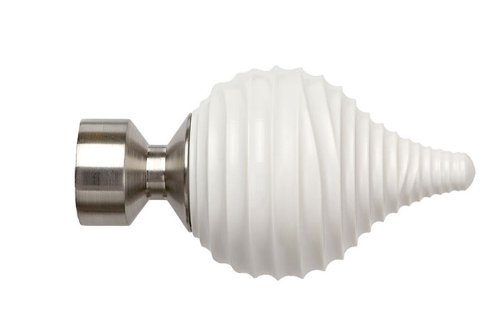 Speedy Swirl Cream 28mm Poles Apart Satin Silver Finial