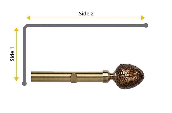 Speedy 28mm Alexia 2 Sided Bay Window Curtain Pole Antique Brass