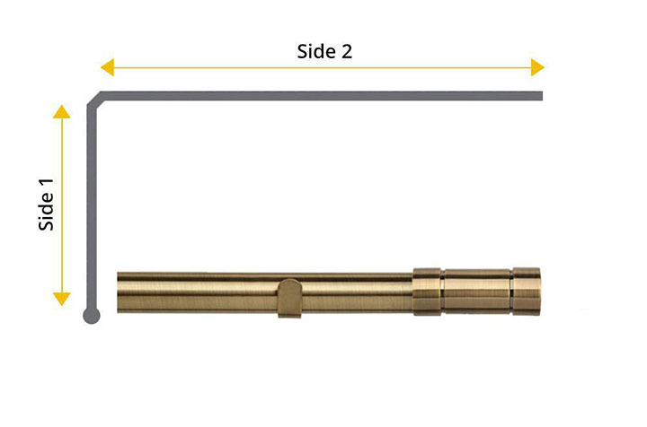 Speedy 28mm Aspect 2 Sided Bay Window Curtain Pole Antique Brass