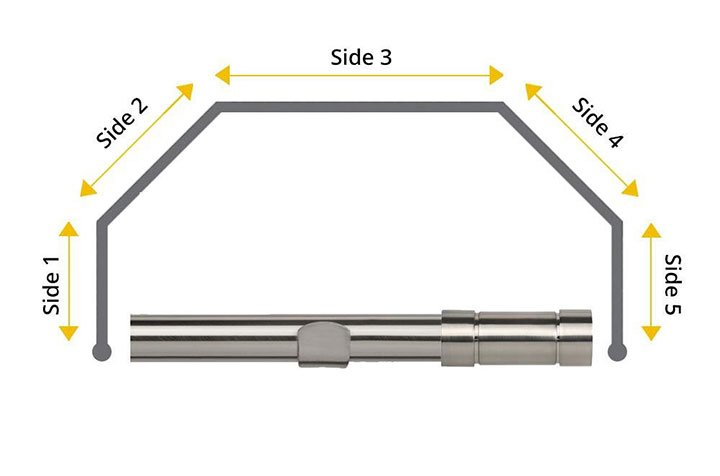 Speedy 28mm Aspect 5 Sided Bay Window Curtain Pole Satin Silver