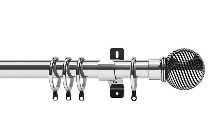 Swish 28mm Elements Curzon Chrome Metal Curtain Pole