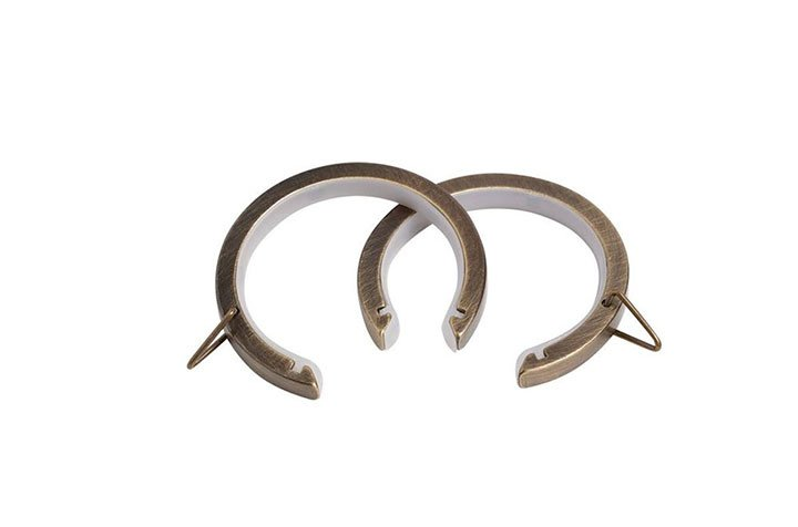Speedy 28mm Lined Bay Pole Passing Rings Antique Brass