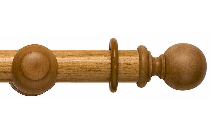 Rolls 55mm Modern Country Ball Light Oak Wooden Curtain Pole