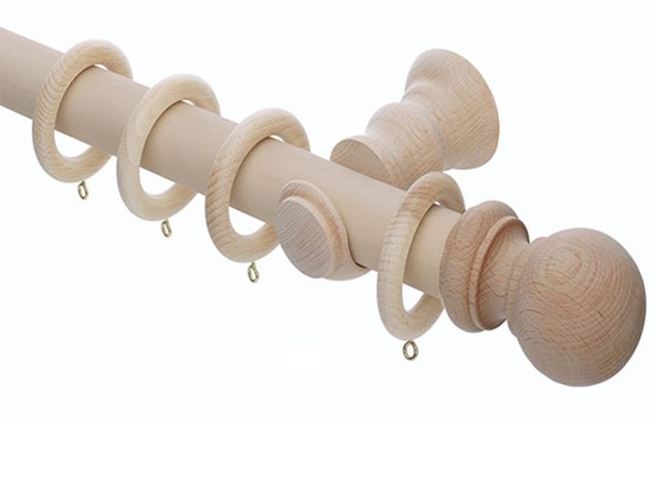 Rolls 28mm Unfinished Wooden Curtain Pole
