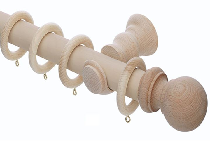 Rolls 35mm Unfinished Wooden Curtain Pole